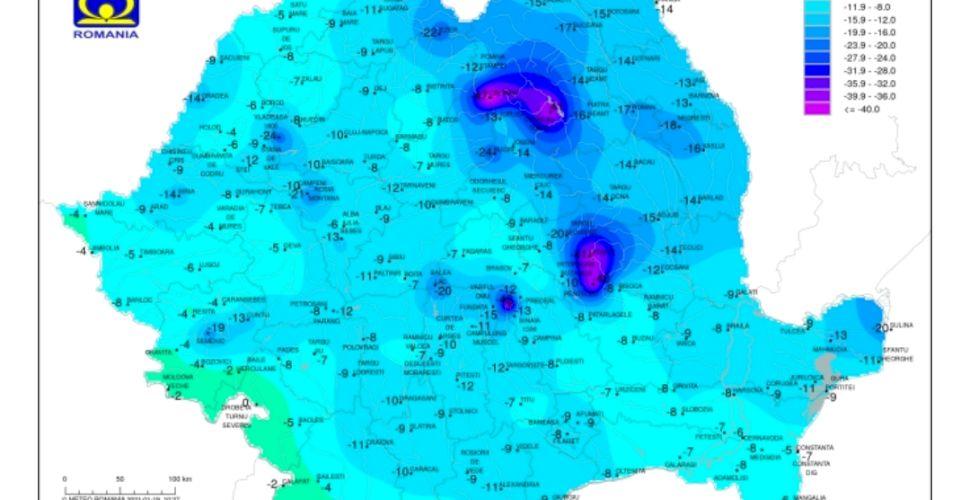 -47 de grade Celsius în România astăzi. Anunțul ANM